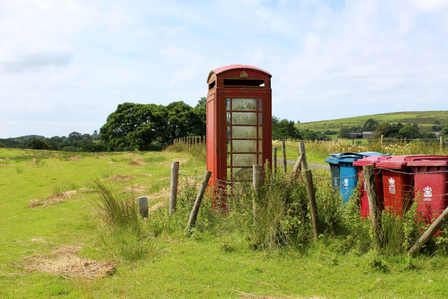 Redundant Telephone Kiosk off Little Bowland Road