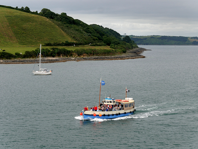Carrick Roads, St Mawes Ferry Passing Trefusis Point