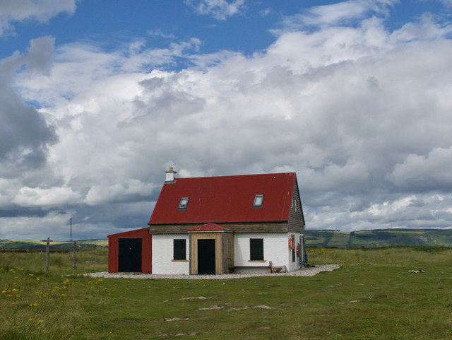 Former salmon fishers' bothy on Whiteness Head spit