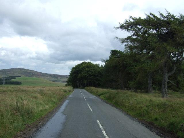 Looking east on the B6355 near Mayshiel