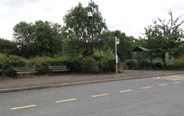 Benches, bus stop and shelter near Ashchurch railway station