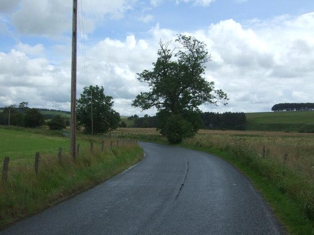 Bend in the B6355 towards Chirnside