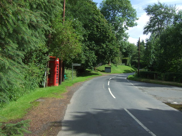 Telephone box on road junction, Ellemford Bridge