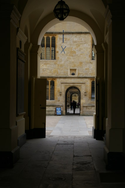 Bodleian Library arches from under the Clarendon Building, Oxford