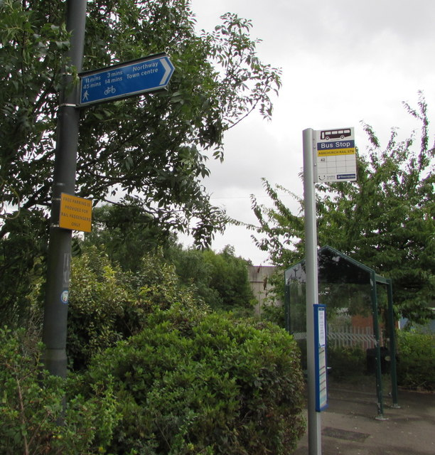 Tewkesbury town centre direction sign near Ashchurch railway station