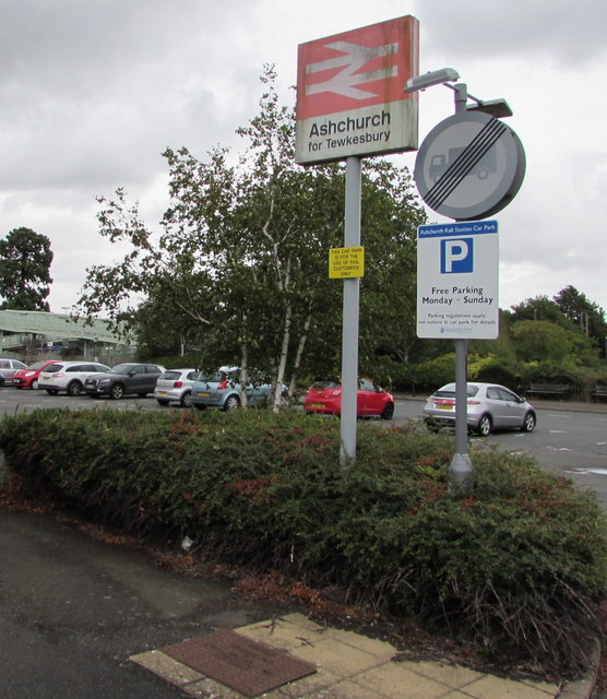 Ashchurch for Tewkesbury railway station name sign