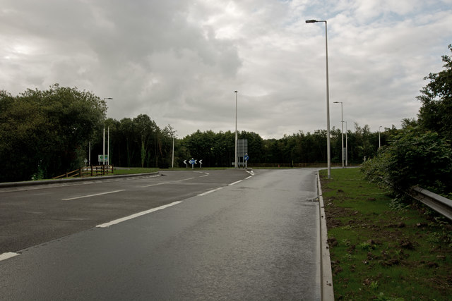 Approaching the new Portmore Roundabout from Barnstaple