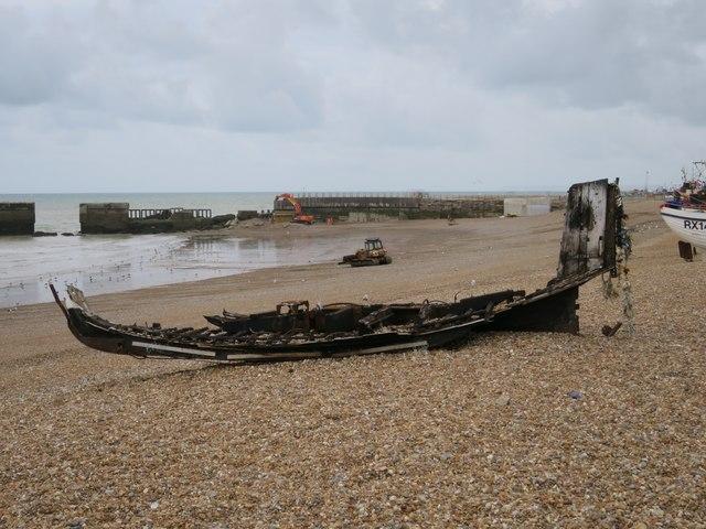 Burnt boat at Harbour Beach
