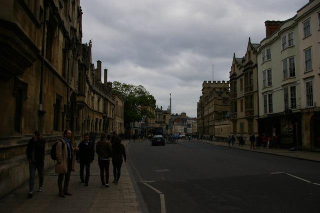 High Street, Oxford, on a grey evening
