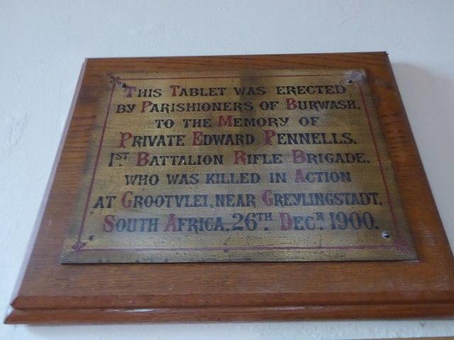St Bartholomew, Burwash: memorial (viii)