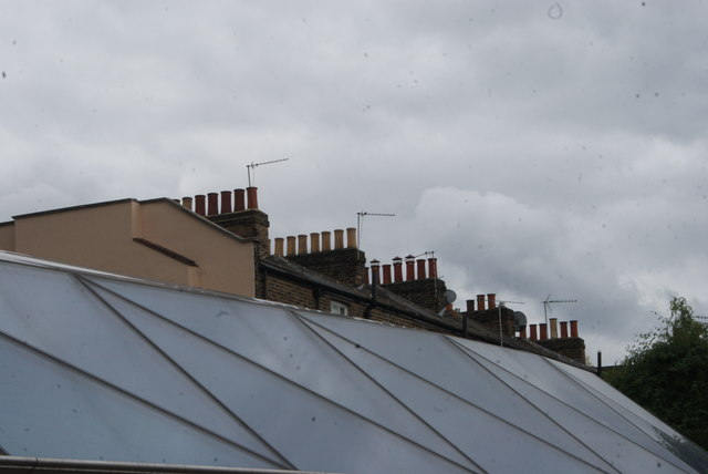 View of chimneys of houses on College Way from the Cutty Sark plaza