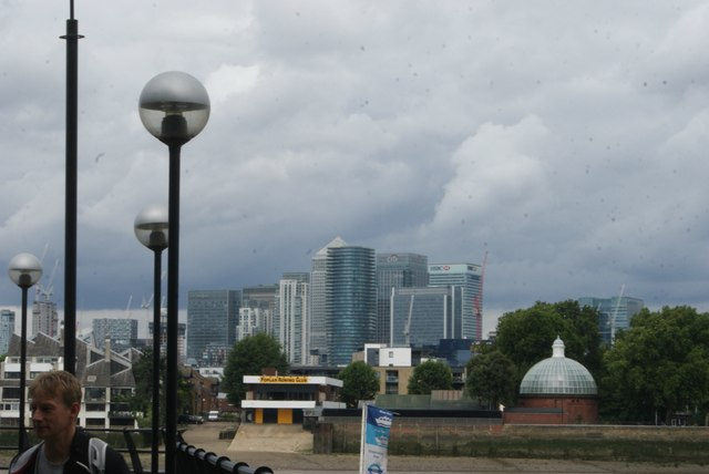 View of Canary Wharf from the Thames Path at Greenwich