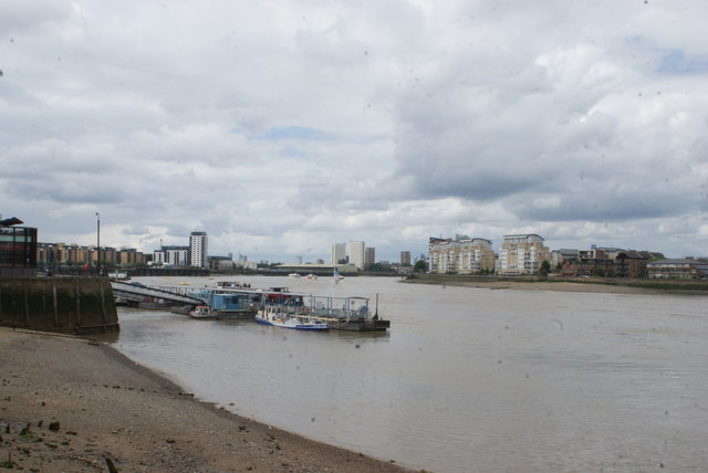 View of blocks of flats in Deptford from Greenwich Riverside