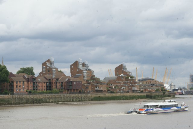 View of flats on Saunders Ness Road from Greenwich Riverside