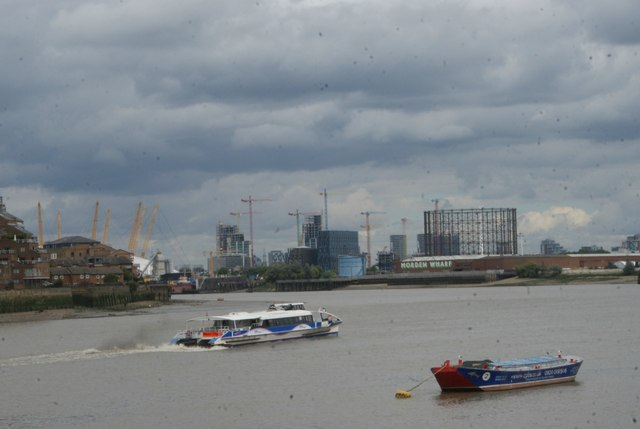 View of new blocks of flats being constructed on the Greenwich Peninsula from Greenwich Riverside