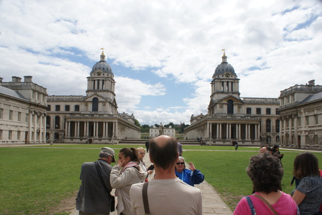View of the Royal Naval College Chapel and Painted Hall from the grounds of University of Greenwich