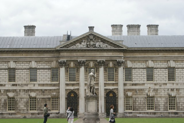 View of Queen Anne Court, University of Greenwich from the university grounds