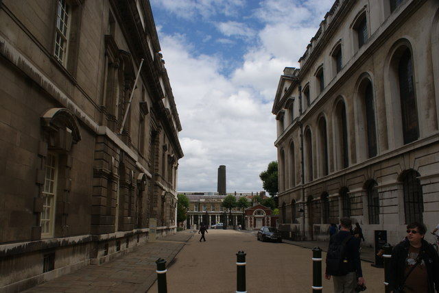 View of the chimneys of Greenwich Power Station from the grounds of the University of Greenwich