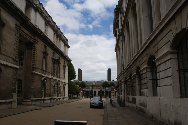 View of the chimneys of Greenwich Power Station from the grounds of the University of Greenwich #2