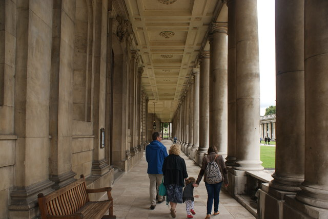 View along a passageway beneath the Old Royal Naval College Chapel