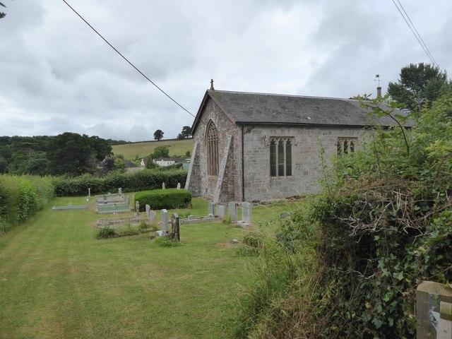 The east end and graveyard of St Luke's chapel, Posbury