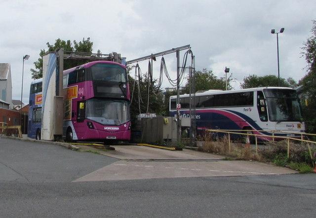 Double-decker under a bus wash, Worcester