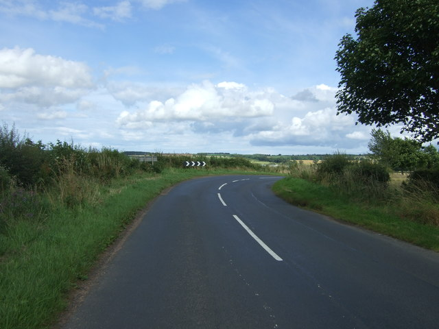 Bend in the B6355 near East Blanerne