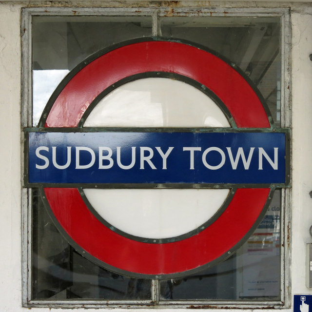 Sudbury Town tube station - enamel roundel in window