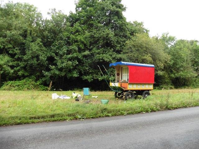 Gypsy caravan near the A396