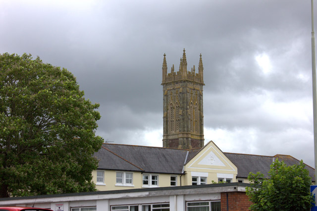 Holy Trinity church tower from Taw Vale New Road