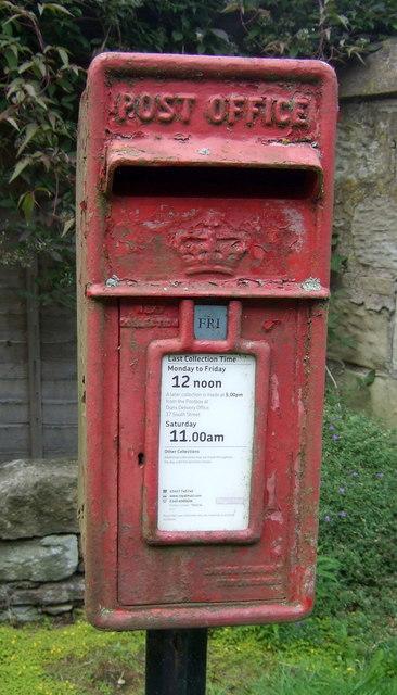 Close up, Elizabethan postbox, Chirnsidebridge