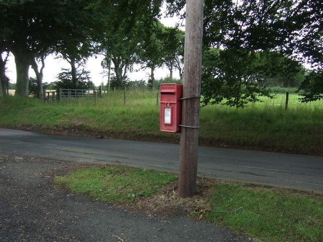 Elizabethan postbox on the B6355, Cranshaws