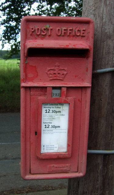 Close up, Elizabethan postbox on the B6355, Cranshaws