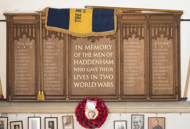 Holy Trinity, Haddenham - War Memorial WWI & WWII