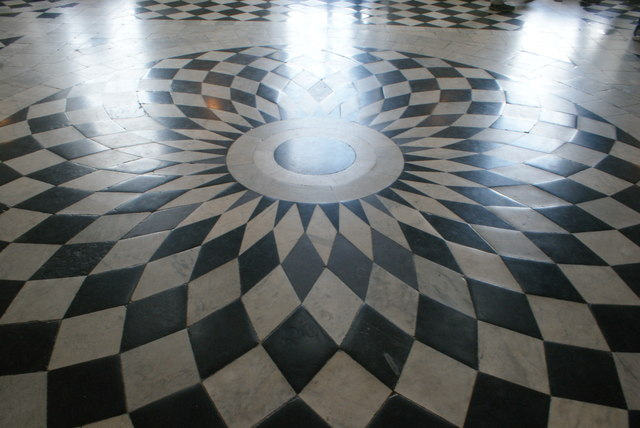 View of the circular floor pattern in the Great Hall of Queen's House #3