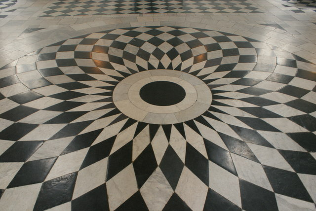 View of the circular floor pattern in the Great Hall of Queen's House #4