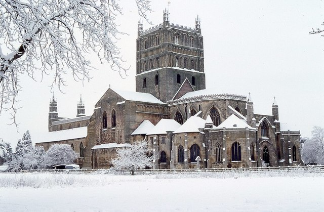 Tewkesbury Abbey in snow