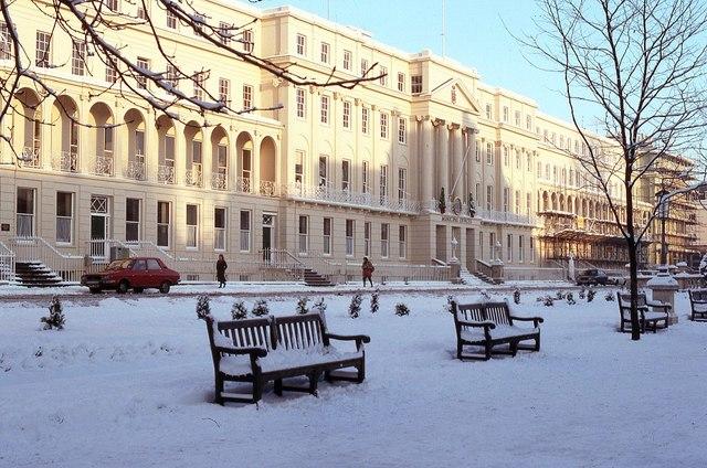 Cheltenham Municipal Offices in snow