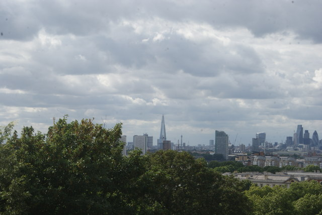 View of the Cutty Sark masts, Shard and BT Tower from One Tree Hill