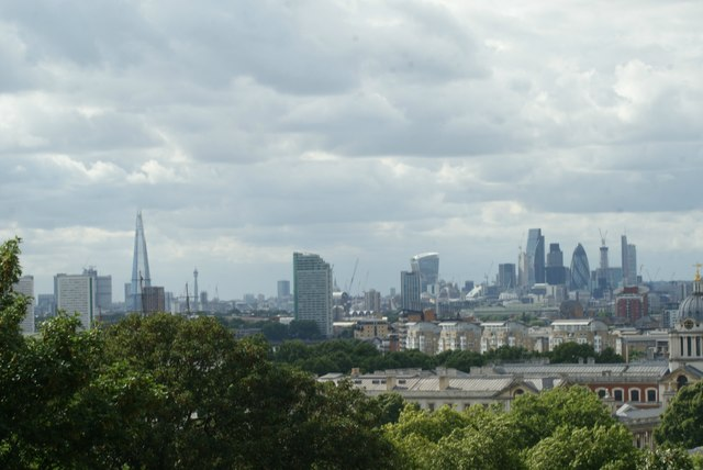 View of the Shard, BT Tower, St Paul's Cathedral, Walkie Talkie, Cheese Grater, Tower 42 and Gherkin from One Tree Hill
