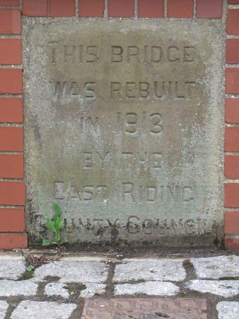 Inscribed stone, footbridge across the River Hull