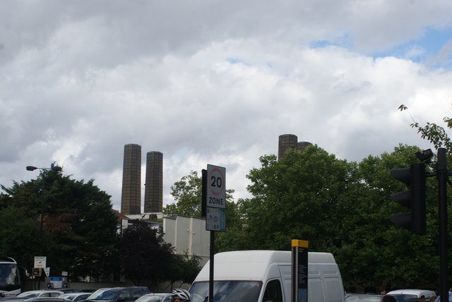 View of the chimneys of Greenwich Power Station from Park Row