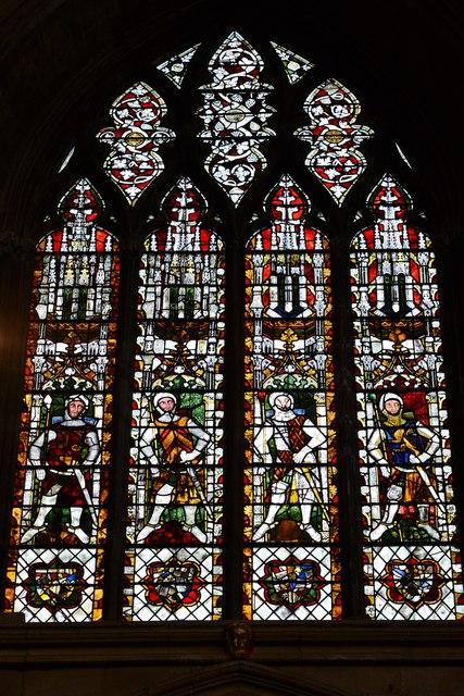 Tewkesbury Abbey: North west window, Robert Fitzhamon, the founder
