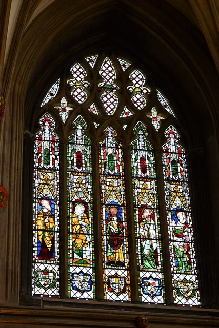 Tewkesbury Abbey: King Solomon and four prophets in the NE window