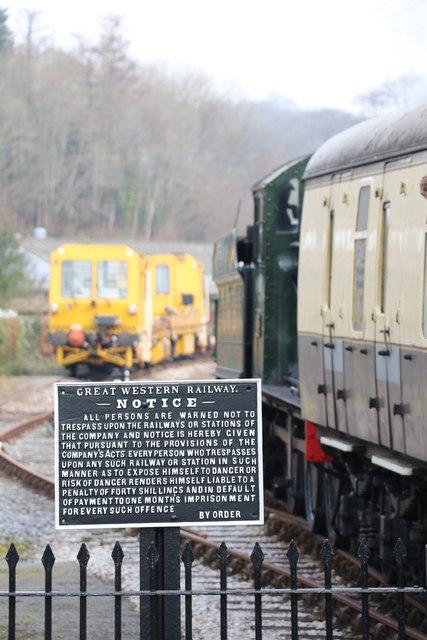 Warning notice - Staverton Station