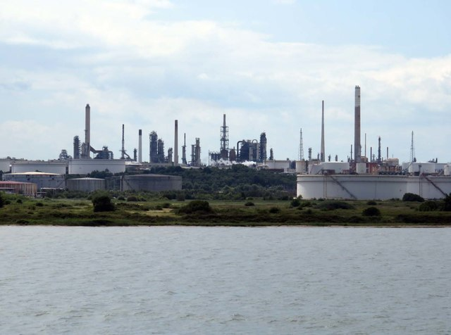 The coastline by Fawley oil refinery