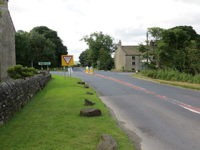 The B6451 Pateley Bridge to Otley road crossing the A59 Harrogate to Skipton road at the aptly named Dangerous Corner