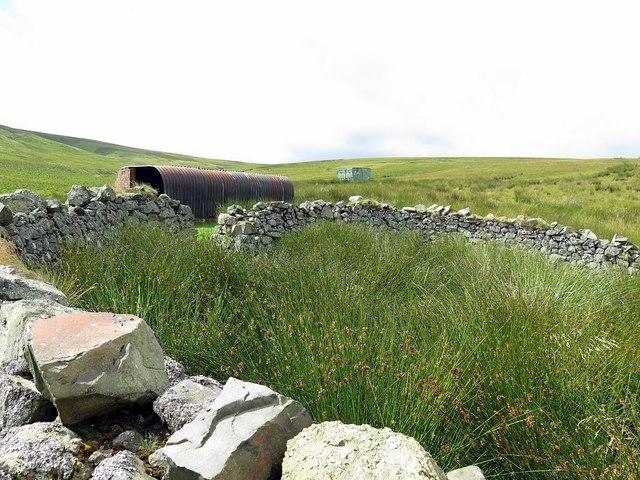 Sheepfold and huts near Buckham's Walls