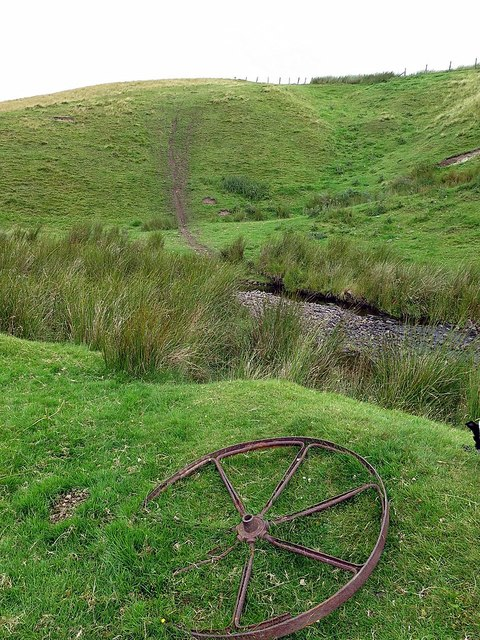 Iron wheel near Buckham's Walls Burn