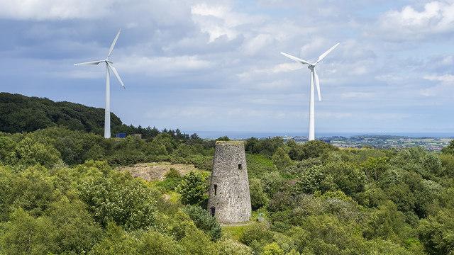 Wind turbines and old windmill near Newtownards